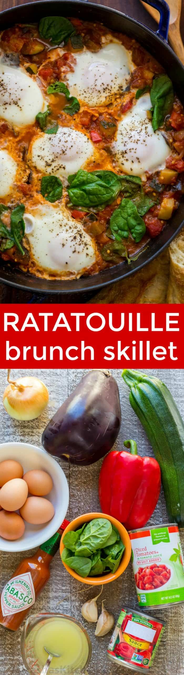 This Ratatouille Brunch Skillet is loaded with zucchini, hearty eggplant and bell peppers in a spicy tomato based sauce, crowned with egg and fresh spinach. Sponsored by @Tabasco | natashaskitchen.com