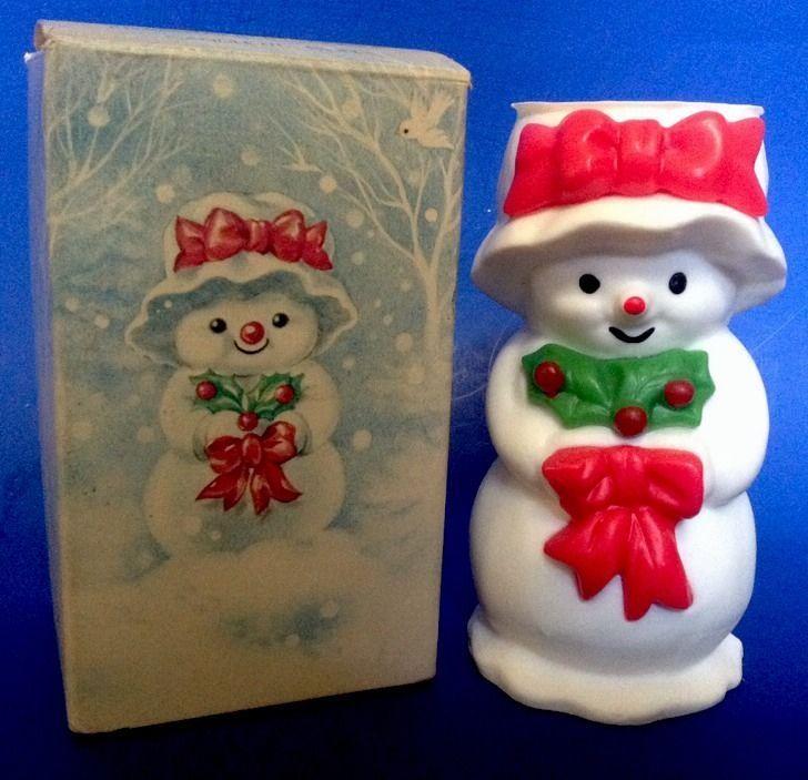 "Vintage Avon Christmas Candle Snowman Mrs Snowlight Bayberry Fragrance 1"" Box"