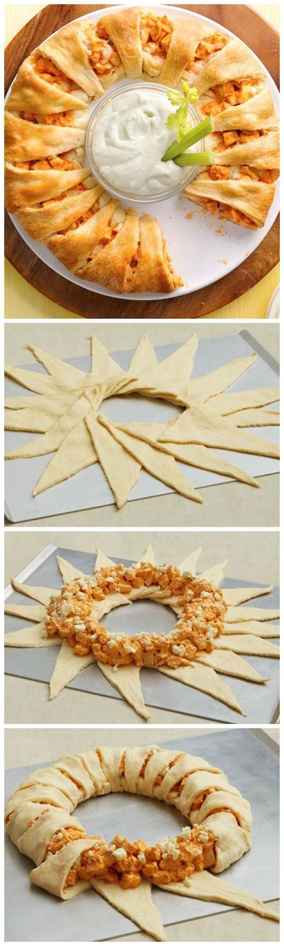 Buffalo Chicken Crescent Ring. A delicious appetizer for a viewing of the Big Game!