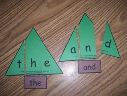 Christmas Tree Sight Word Puzzles - could change this up a bit for phonics/spelling