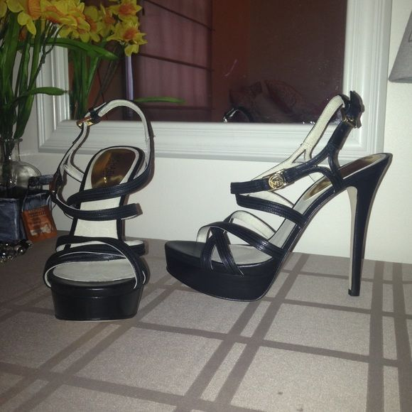 Michael Kors Black Strappy Sandal Heel NWOT NWOT Perfect condition - never worn. I have really wide feet so they just didn't work out for me. Approx 4 inch heel height. Great match for any outfit! MICHAEL Michael Kors Shoes Heels