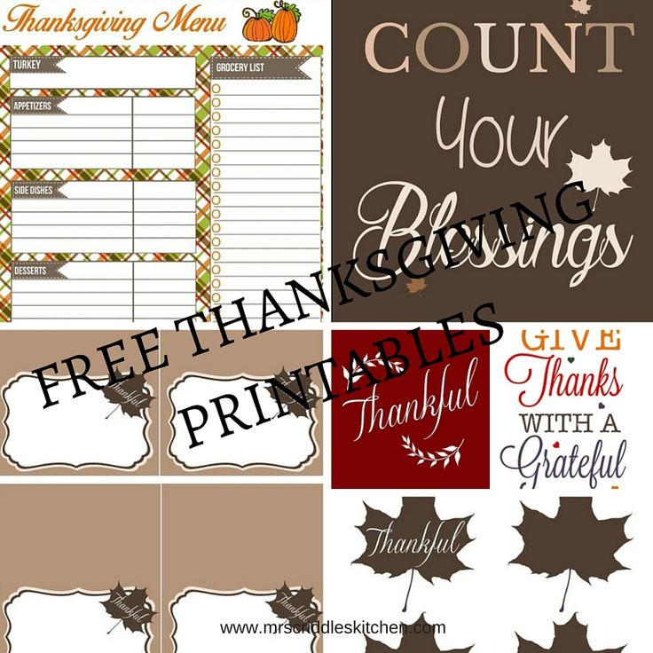 Free Thanksgiving Printables- Menu & List, Place Cards