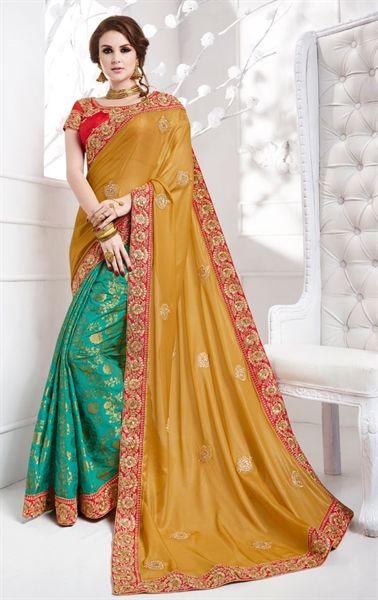 Picture of Lovable Beige and Turquoise Premium Designer Saree