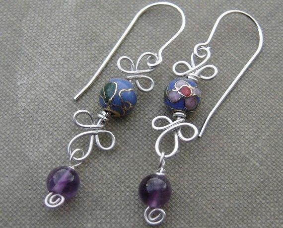 Blue Cloisonne and Amethyst  Dangle Sterling Silver Wire Earrings - Stone Beads Spirals and Swirls