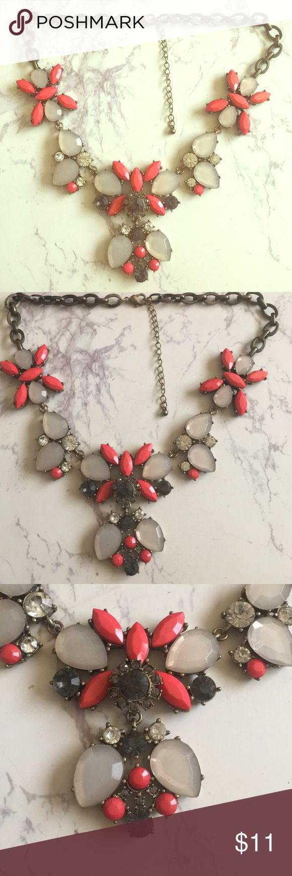 Coral Statement Necklace Coral statement necklace with brushed gold chain Jewelry Necklaces