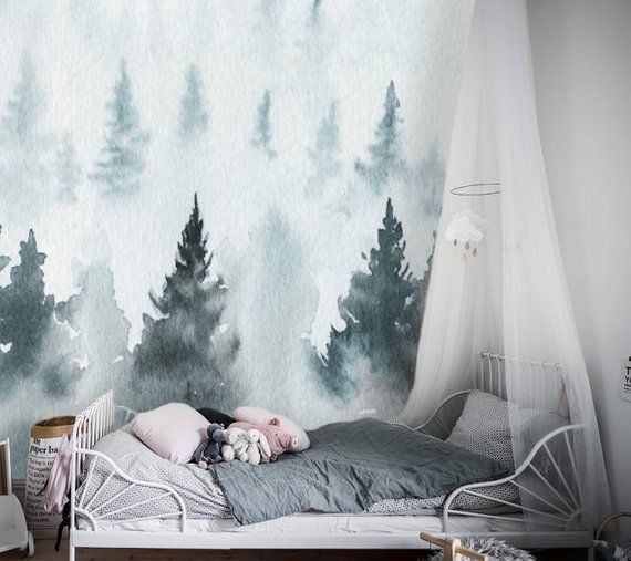 Blue Forest Watercolor Removable Wallpaper Peel And Stick Nursery