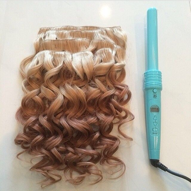 """I absolutely love the curls I can achieve with the Triple Threat curling iron! This is the 1"""" barrel size and it also comes with a 3/4"""" and 1 1/4""""! Check it out at http://leylamilanihair.com/pages/all-products, also this extension is our """"sunset"""" ombré special edition and is 20"""" long weighing in at 150 grams!!"""