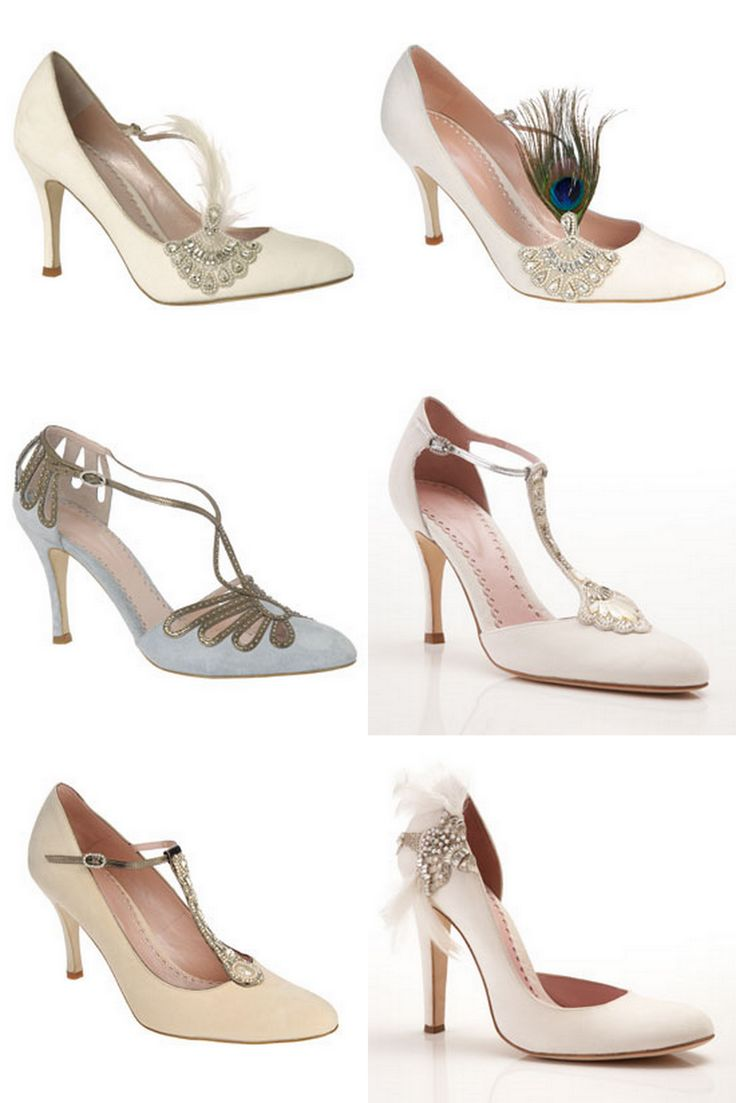 These gorgeous bridal shoes would be perfect for a 1920s Art Deco Great Gatsby themed wedding.