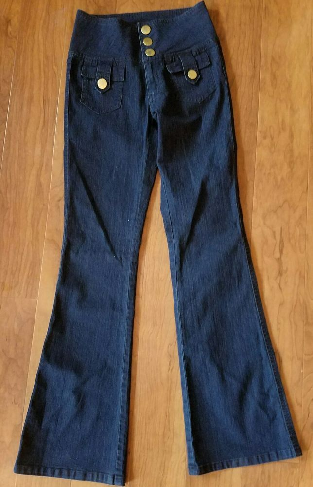 Cache Women's Jeans Size 4 High Waist Rise Flare Back Flap Pockets Gold Buttons  #Cache #HighWaistedFlare