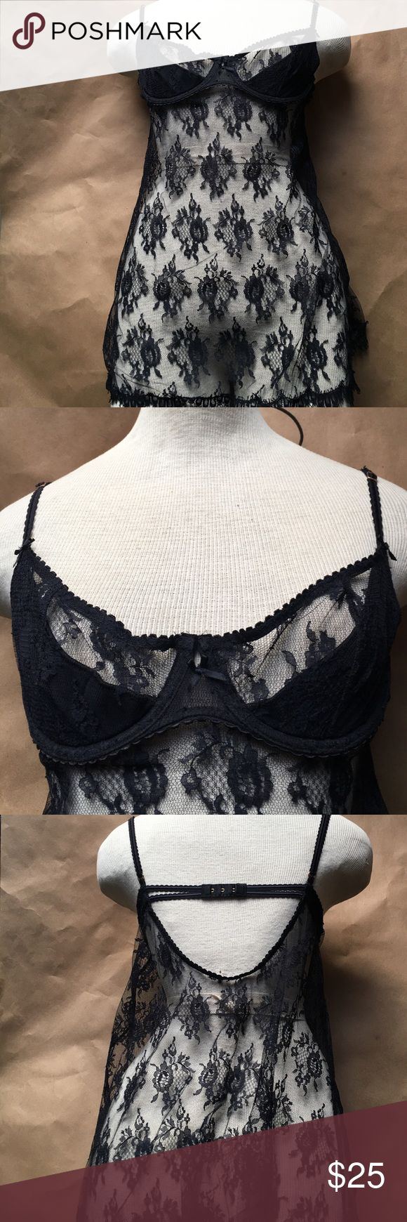 Very Sexy Victoria SECERT LACE LINGERIE 36b New, LACE BLK. Sheer. Underwire cups and little padding half covered top. Size 36B Victoria's Secret Intimates & Sleepwear Chemises & Slips