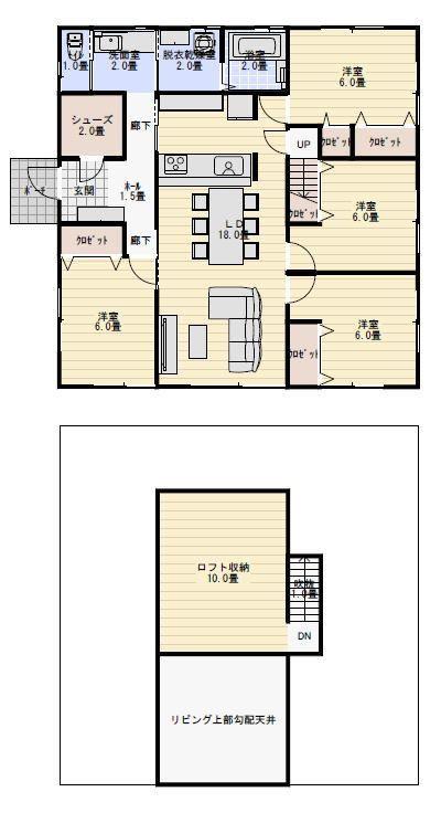 30坪4LDKのシューズクロークのある平屋の間取り図。ロフト収納12畳 | 平屋間取り | 間取り 30坪, 40坪 間取り ...