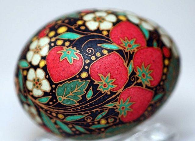 strawberries   Khokhloma style - Russian folk art