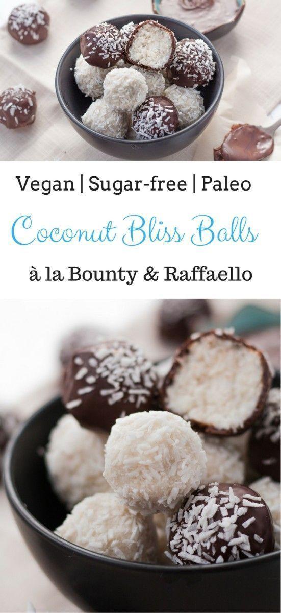Vegan Bounty Raffaello Coconut Bliss Balls Sugar Free Paleo