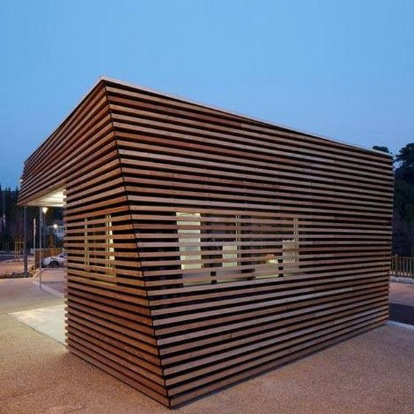 dezeen Parking Attendants Pavilion by JeanLuc Fugier 03 Timber Cabin to House Parking Ticket Machine by Jean Luc Fugier