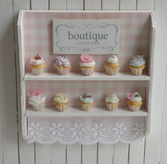 Miniature Artisan Cupcakes and Bakery Shelf by CynthiasCottageShop