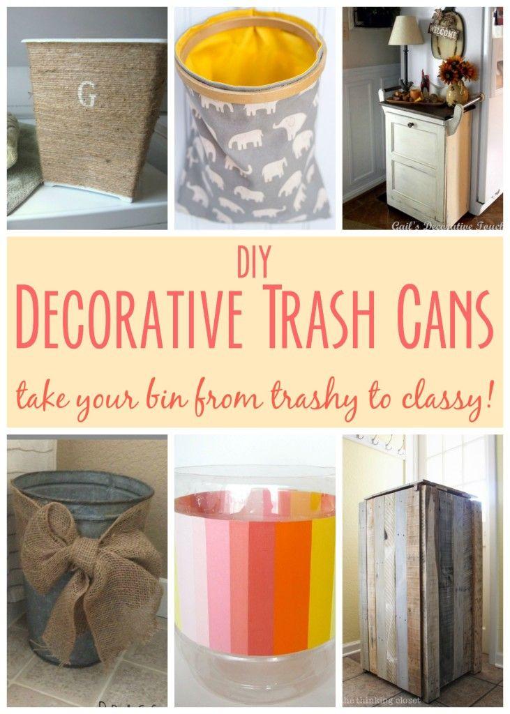 Diy Decorative Trash Cans Trash Bins Cream And Tables
