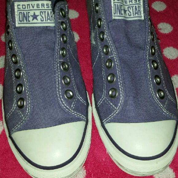 Converse one star Brand new purple no lace converse one star shoes size 9 1/2  Tried on once never been worn I don't have the box or the tags and they don't fit me Converse Shoes Sneakers