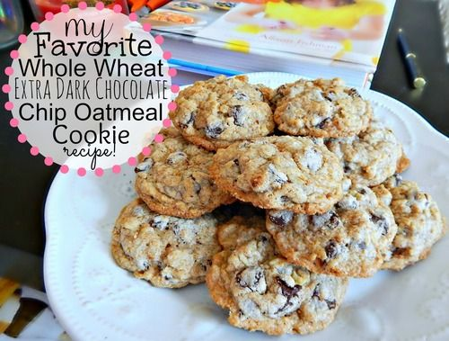 My Favorite Whole Wheat Dark Chocolate Chip Oatmeal Cookie Recipe! 83 Calories.