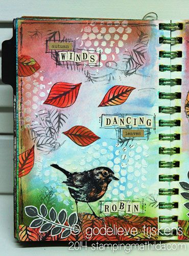 Autumn Impressions Art Journal Page by Godelieve Tijskens using Darkroom Door Fallen Leaves Background Stamp and Robin Eclectic Stamp. http://www.darkroomdoor.com/background-stamps/background-stamp-fallen-leaves