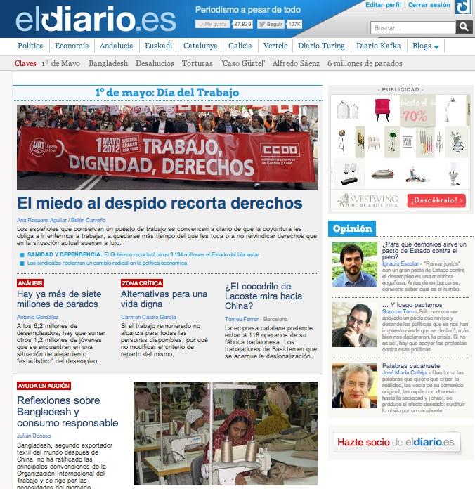 Portada eldiario.es en el 1º de mayo. 2013.