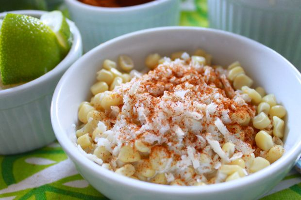 Elote En Vaso (corn in a cup) aka Mexican Street Corn on the Cob. Love it! Just like Mexican street corn. Easier and less messier than corn on the cob.
