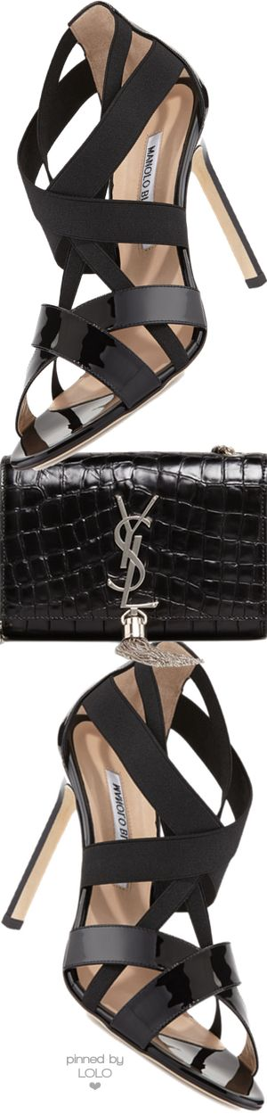 Manolo Blahnik Eletti Patent Crisscross Sandal and Saint Laurent Bag | LOLO❤