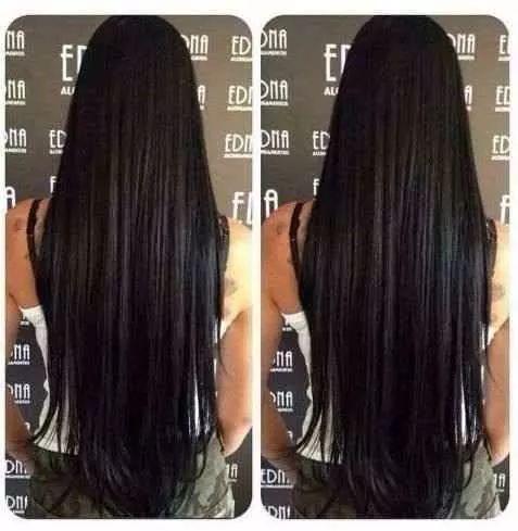 aplique tic tac preto liso/ 65 cm/ igual cabelo humano
