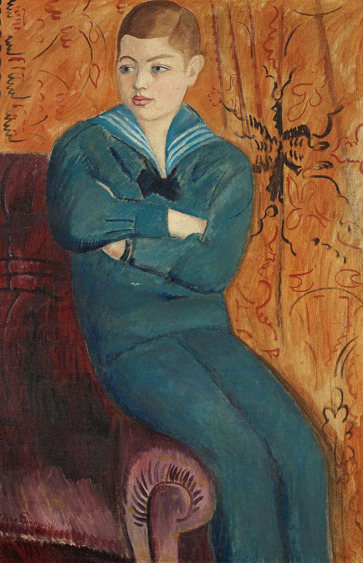 Blåa pojken. Signerad Grünewald och daterad -19. Duk 131 x 85 cm.