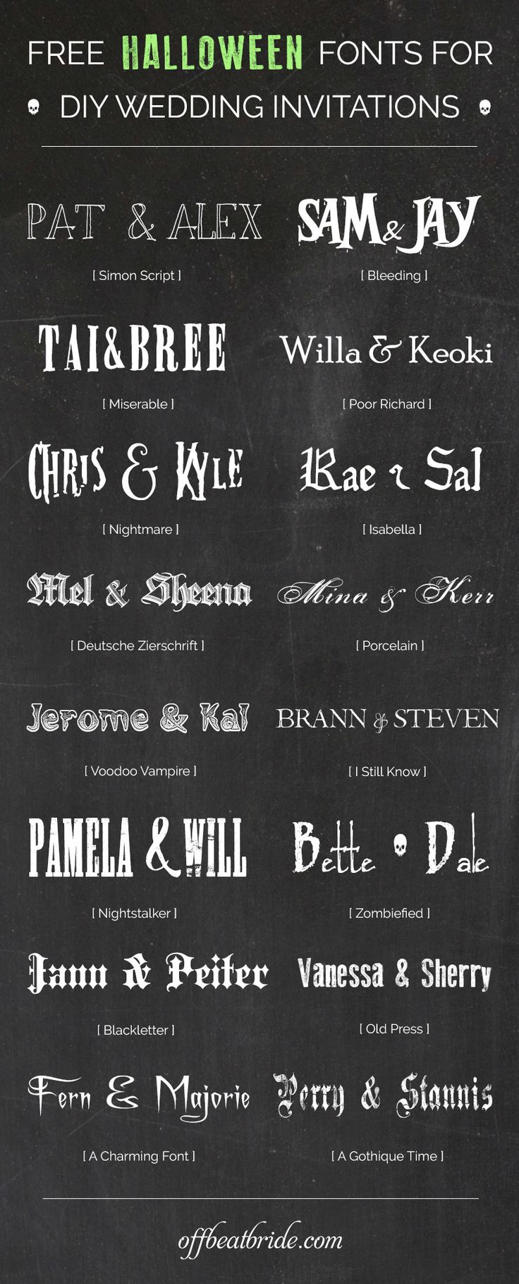 16 bewitching free halloween fonts for scarily good diy wedding invitations - Wedding Invitation Fonts