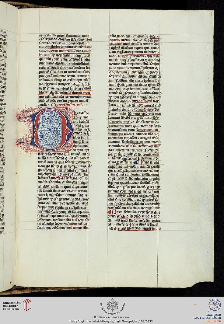Vatikan, Biblioteca Apostolica Vaticana, Pal. lat. 103 Nicolaus <de Lyra> Liber super Psalterium — 14. Jh.