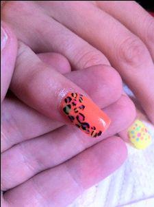 Beautiful Orange acrylics with free hand leopard printnail art