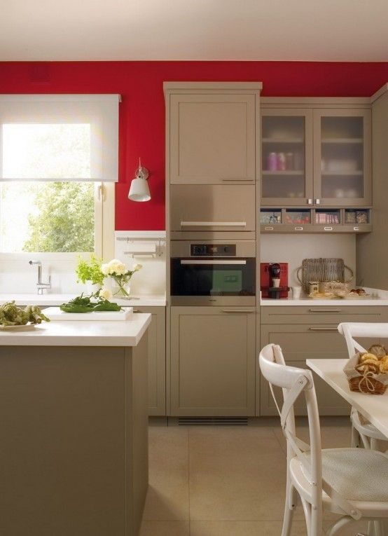 bold colors red and beige kitchen
