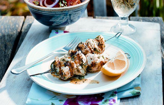 Monkfish skewers