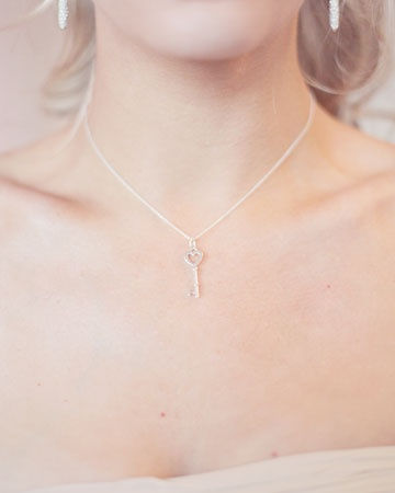 This bride gave her attendants Tiffany and Co. key pendant necklaces