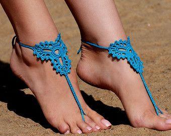 Crochet turquesa sandalias Descalzas, joyería, regalo de la Dama de honor, pies descalzos sandalias, tobilleras, boda, boda en playa, verano zapatos