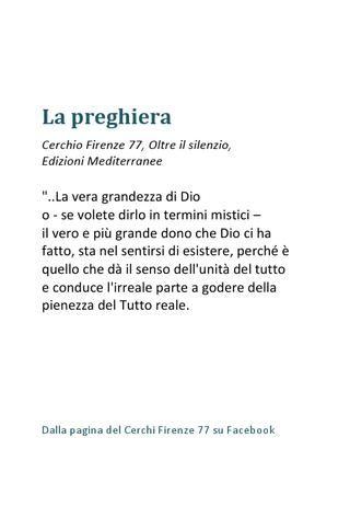 La preghiera, Cerchio Firenze 77  Un estratto dal libro Oltre il silenzio, Edizioni Mediterranee