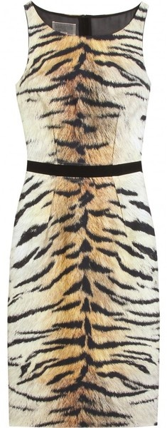Giambattista Valli Animal Tiger Print Dress_    Tiger print dress with black grosgrain waistband and sleeveless silhouette. Large rounded neck. Hidden back zipper with hook-and-eye top closure. Fully lined.    _        $1921 at My Theresa (sold out)