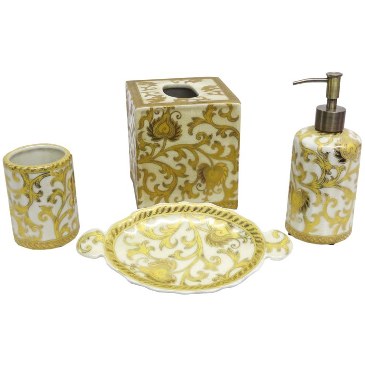 Nice Enhance Your Bathroom Decor With This Elegant Cream And Gold Porcelain Accessory  Set With A Scroll Home Design Ideas