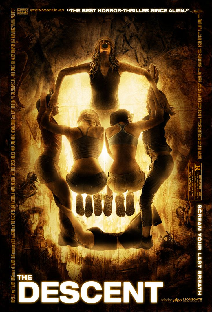 """The Descent, Neil Marshall (2005). A caving expedition goes horribly wrong. This is still the greatest """"horror"""" movie ive ever seen. Left me feeling claustrophobic, beyond terrified, and extremely umcomfortable all the way through the movie. You can feel their fear the whole way through."""