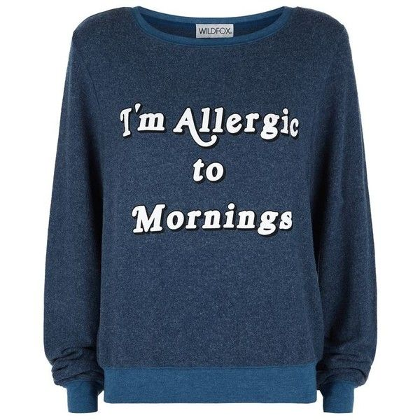 Wildfox Allergic To Mornings Baggy Beach Sweater (200 CAD) ❤ liked on Polyvore featuring tops, sweaters, beach sweater, blue sweater, blue top, baggy tops and baggy sweaters