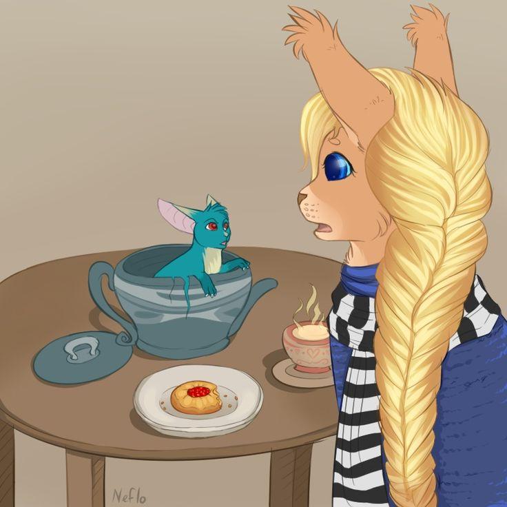 """Флакончик """"Любви и Тепла"""" ...как вдруг мысли ее прервало шуршание и постукивание со стороны декоративного фарфорового чайничка, стоявшего на ее столике. Крышка его начала подпрыгивать и греметь, и любопытная Алис сняла ее, обнаружив очень маленькую и очень лохматую ромашковую соню. - Это все """"теплота и забота"""", - забурчала неожиданно низким голосом соня.   / Автор иллюстрации - Neflo. vk.cc/3cOjWi"""