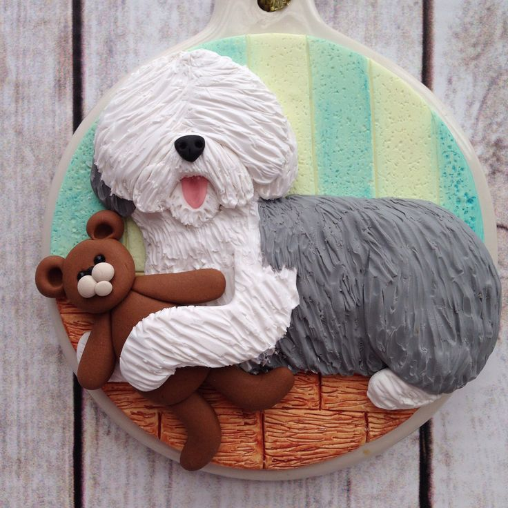 Old English Sheepdog ornament in my Etsy shop https://www.etsy.com/listing/483401655/old-english-sheepdog-christmas-ornament