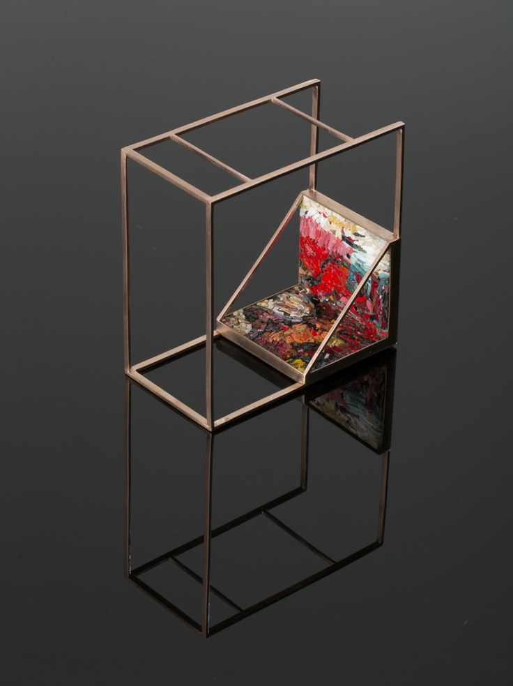Construct 1.3 Designed by Liani vd Westhuizen for Spier Architectural Arts. 9kt Brushed Rose Gold with contemporary style micro-mosaic inlay created with precious and natural stone, ceramic elements and Venetian glass; direct method. 80 x 80 x 42mm Nominated as Most Beautiful Object In South Africa (MBOISA) 2014