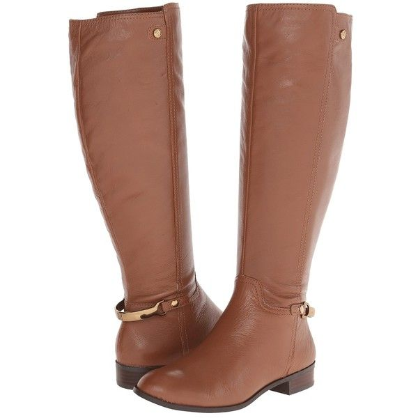 Anne Klein AKKacey Wide Calf (Cognac Leather) Women's Boots ($45) ❤ liked