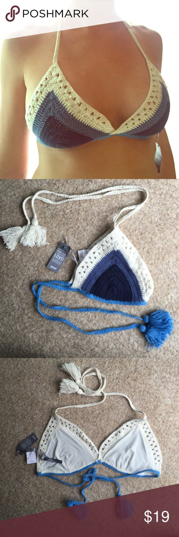 Aerie Crochet Triangle Bikini Top New with tags - never used! Size XL blue and off white crochet triangle bikini top with ties. aerie Swim Bikinis