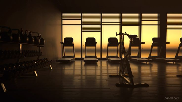 Still shot of row of treadmills in gym from CGI clips. Rendered with V-Ray RT GPU in Autodesk 3ds max. Interior of fitness club from Studio Dabarti. Selection of clips from February 2016. Our complete RF portfolio you can find here: www.shutterstock.com www.dissolve.com www.pond5.com  More info: dabarti.com/royalty-free-cgi-stocks/ facebook.com/DabartiCGI instagram.com/dabarti_cgi/