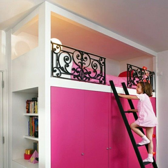Super cool loft bed. by francine This is awesome. Closet space below is  perfect