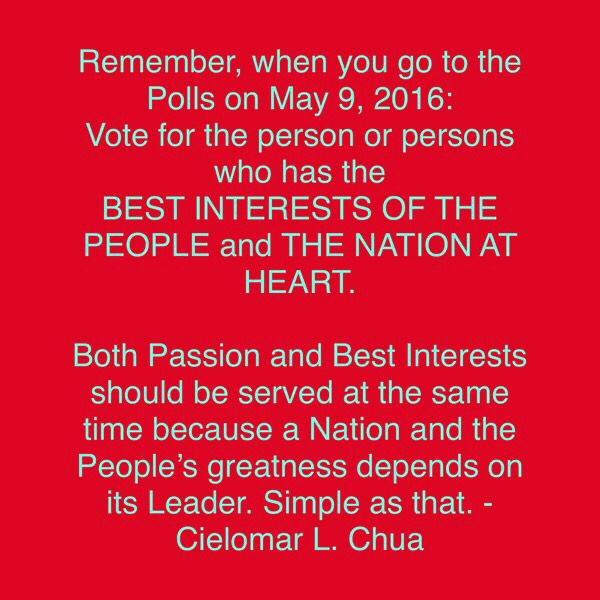 Best interests of the people and the nation at heart.