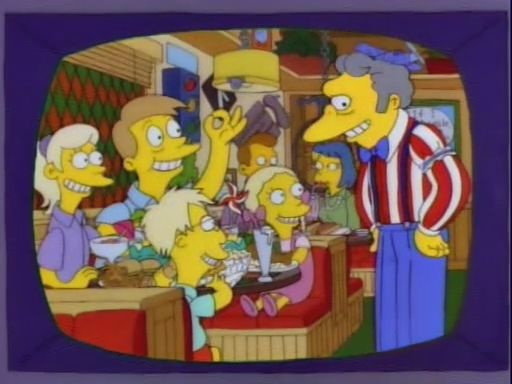 "Gluttony: When Moe is converting his bar into a restaurant, he acquires a gigantic deep-fat fryer, claiming it can deep-fry a buffalo in forty seconds, to which Homer grouses, ""Oh, I want it now!"" Later, Homer eats Bart's meal at Uncle Moe's."