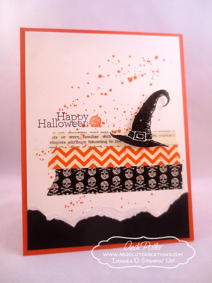 Halloween. Best Stampin Up Halloween Cards. Creative Handmade Stampin Up Happy Halloween Card Features Black Witch Hat And Grunge Splatter Stamps.